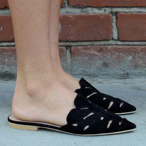 Shoes - 🆕 Soft Vegan Suede LaserCut Mule Flat